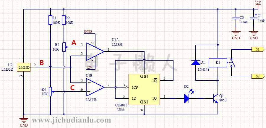 双向温度限制的感温控制器电路